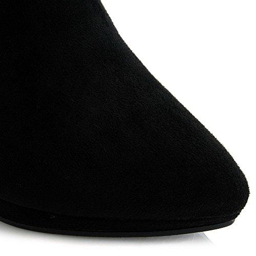 Schwarz Stiefeletten Toe Heels Damen Frosted High Allhqfashion Closed 0xOFZzqO