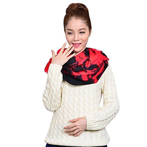Bolayu Women Winter Infinity Circle Knit Cowl Neck Faux Cashmere Scarf Shawl (B)