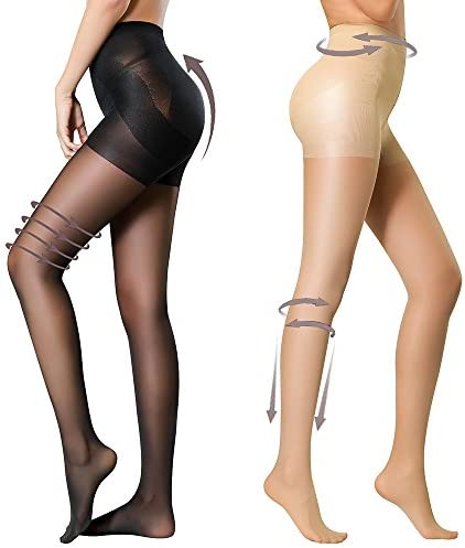 HONENNA 2 Pair Compression Shaping Pantyhose Control Top Semi Opaque Tights Push Up