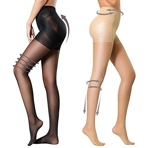 HONENNA 2 Pair Compression Shaping Pantyhose Control Top Semi Opaque Tights Push Up (Medium, Black+Nude) Control Pantyhose
