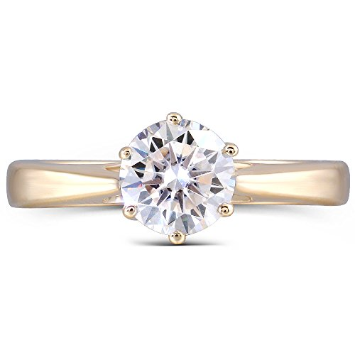 (DovEggs 14K Yellow Gold 1CTW 2.7mm Band Width Center 6.5mm GH Color Moissanite Engagement Rings for Women(6.5))