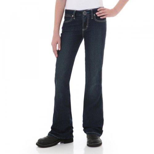 Wrangler Girls' Premium Patch Jeans Flared Boot Cut Blue 14 REG