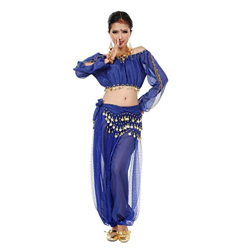 Maylong Womens Harem Pants Belly Dance Outfit Halloween Costume DW29 (Royal -
