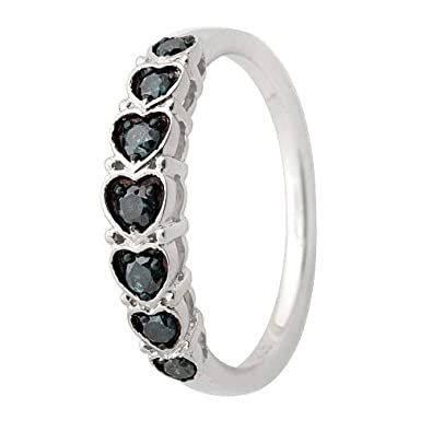 Goldenstar 0.30Ct Blue Diamond Heart Shape Valentine 925 Sterling Silver Ring