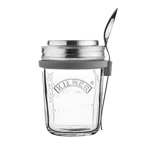 Kilner Breakfast Jar Set, Innovative Glass to-go Container, Airtight Lid Doubles as Measuring Cup, Stainless Steel Spoon with Holder, 11-3/4-Fluid Ounces, Dishwasher Safe