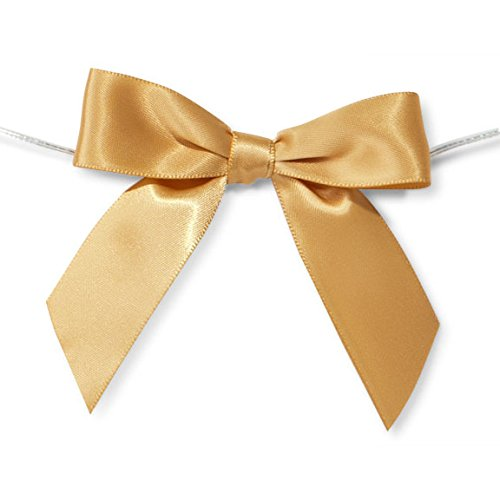 Pre-Tied Satin Bows, 7/8-Inch, 12-Piece (Gold) -