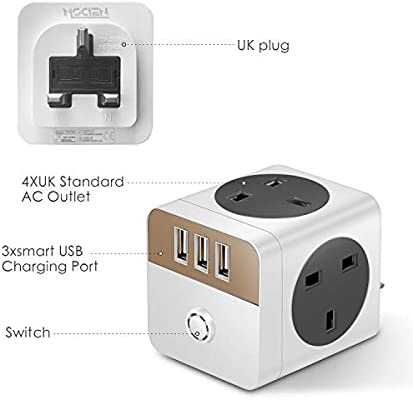 White+Gold N//R 4 Way 3 USB UK Plug Extension,Multi-Socket Wall Socket Extension With Indicator Light Switched Wall Power Strip,13A//250V//2300W