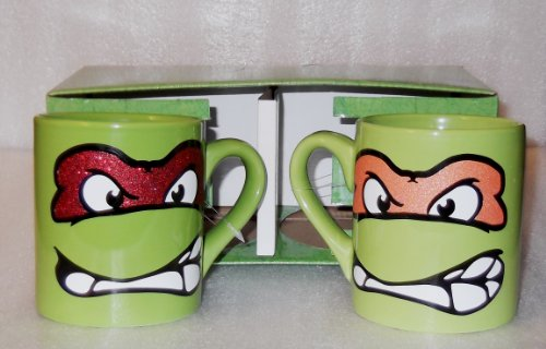 tmnt-michelangelo-raphael-glitter-mask-green-14-ounce-oz-boxed-mug-set-licensed-by-viacom