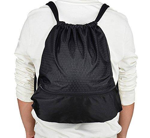 Savanaha Drawstring Backpack Waterproof Sackpack Double Sturdy Sports Backpack 2 Sizes(Black-L)