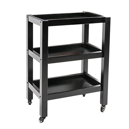 Master Massage Wooden 3-Tier Rolling Cart Large Mobile Trolley with Wheels for Salon Spa Tattoo Clinics Office Home Use, Black (Trolley Cart Facial)