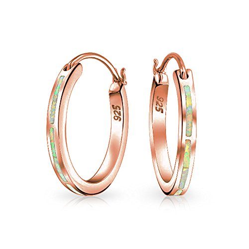 (Created Pink Opal Inlay Flat Tube Large Hoop Earrings For Women Rose Gold Plated 925 Sterling Silver October Birthstone)