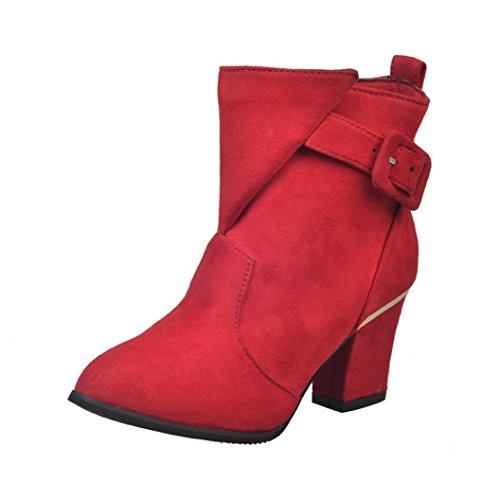 Quality Ugg Boots High (Creazy Women Buckle Ladies Belt Faux Warm Boots Ankle Boots High Heels Martin Shoes (Red, 37))