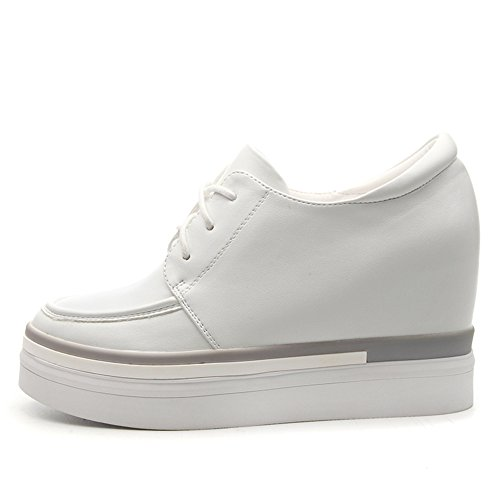 Platform Wedge BERTERI White Women Height Heel Sneaker Black Increased Hided White Hn7xZn