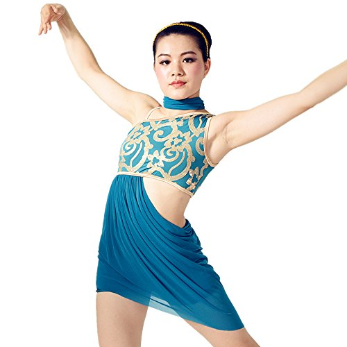 MiDee Sequined Diagonal-neck High-low Dress Dance Costumes With Neckwear (SA, Turquoise) (Dance Costumes/ Wear)