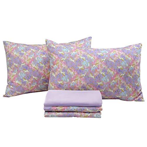 (Brandream Pink Unicorn Bedding Sets Full Size Girls Unicorn Sheets 100% Cotton Bed Sheet Set Deep Pocket 18 Inch(1 Top Sheet + 1 Fitted Sheet + 2 Pillowcases))