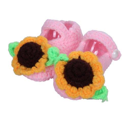 Smile YKK Gestrickte Baby Schuhe Krabbelschuhe flauschige Länge 11 cm Blau Sonnenblume Pink X