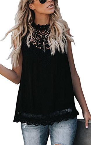 Angashion Women's Sleeveless Halter Neck Lace Splicing Tank Top Vest 660 Black M