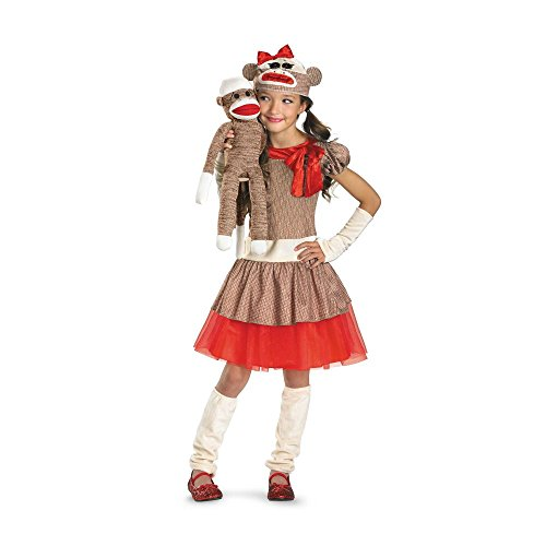 [Sock Monkey Girl Costume, Beige/Brown/Red, Medium/7-8] (Monkey Halloween)