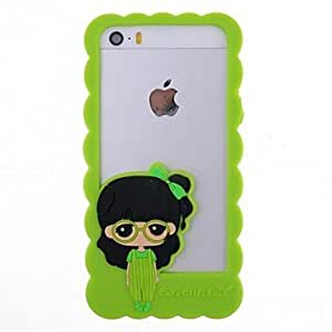 LCJ Cartoon Girl Pattern Silicone Bumper Frame for iPhone 5/5S (Assorted Colors) , Yellow
