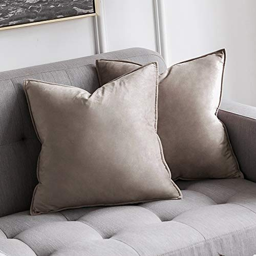 MIULEE Pack of 2 Decorative Velvet Throw Pillow Cover Soft Pillowcase Solid Square Cushion Case for Sofa Bedroom Car 20x20 Inch 50x50 cm Mix Pink and Grey (Pillow Decorative Covers Square)