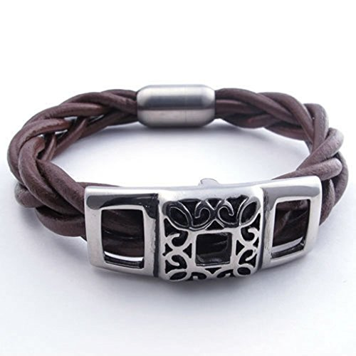 Epinki Stainless Steel and Leather Bracelet, Mens Square Bracelet Brown Length 8 Inch