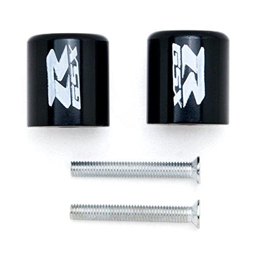 Krator Black Bar Ends GSXR Logo Hand Grips Handlebar Caps For Suzuki SV1000S 2003-2006
