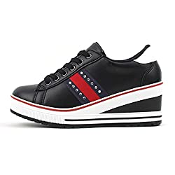 Epicstep Women S Black Studs Lace Up Mid Heels Platform Wedges Fashion Sneakers Shoes 7 M Us