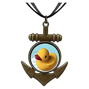 Chicforest Bronze Retro Style Swimming Rubber Ducky Anchor Pendant