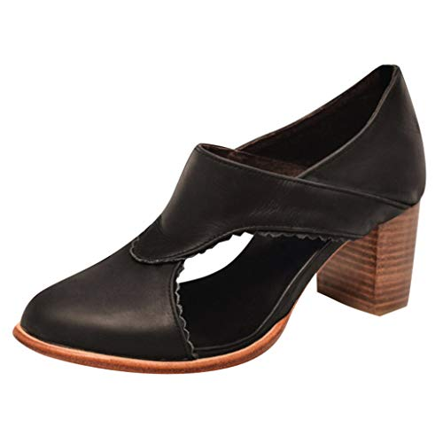 ✔ Hypothesis_X ☎ Women's Casual Slip On Loafer Pointed Toe Cut Out Slip On Office Casual Square Heels Zipper Sandals Black ()