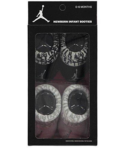 New Nike Jordan Jumpman 23 Baby Booties, Black Gray White, 0-6 Month, 2 Pair.