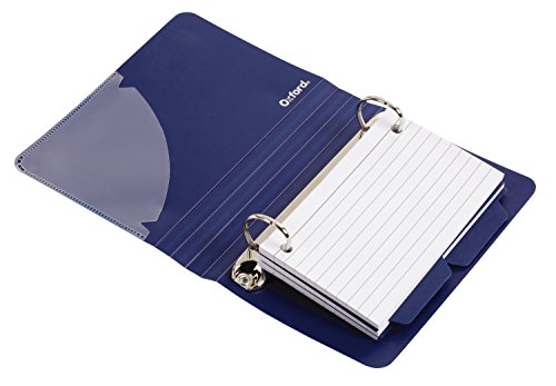 Binder Flat Poly - Oxford Poly Index Card Binder, 3 x 5 Inches, Color Will Vary, Includes 50 Pre-Punched Cards (73569)