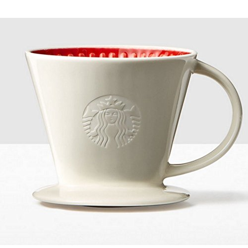 Starbucks Ceramic Pour Over Coffee Dripper Red and White Cone by Starbucks