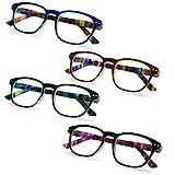 Anti Reflective Prescription Computer Glasses, 4 Pack, 2.00 - Glare and Blue Light Blocking Reading Glasses – Men's and Women's Readers - by Marc De Rez
