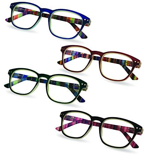 Anti Reflective Prescription Computer Glasses, 4 Pack, 2.00 - Glare and Blue Light Blocking Reading Glasses - Men's and Women's Readers - by Marc De Rez