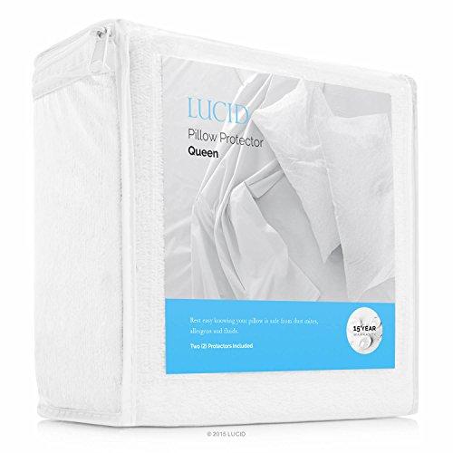 (LUCID Premium Hypoallergenic 100% Waterproof Pillow Protector - 15 Year U.S. Warranty - Vinyl Free - Queen Size, Set of 2)
