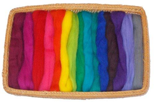 15 Color Fine Wool Roving - Vivid Colors