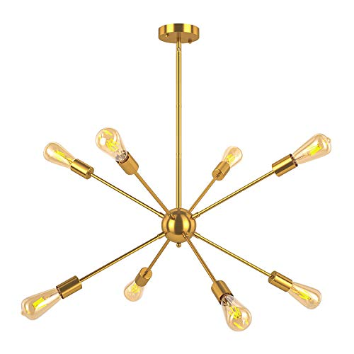 Light Modern Eight Chandelier (Oak Leaf Modern 8-Light Sputnik Chandelier, Mid Century Semi Flush Mount Ceiling Light for Bedroom Living Room and Dining Room)