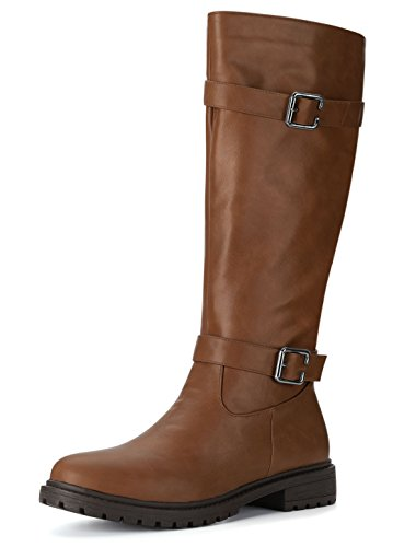 Allegra Boot (Allegra K Women's Buckle Straps Zipper Riding Boots (Size US 6) Dark Brown)