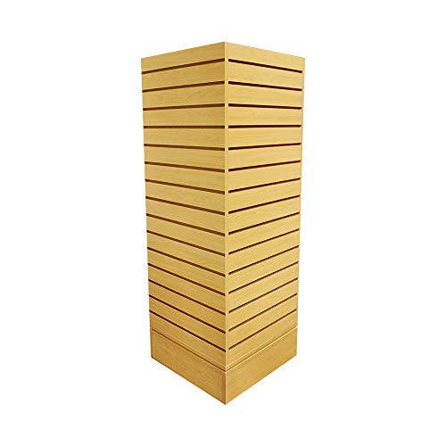 - Revolving Slatwall Floor Display Rotating Cube Tower 4 Sided Retail Fixture - Maple