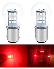 ALOPEE 2-Pack 10-24V DC Bright Red 1157 2057 2357 7528 BAY15D 33SMD LED Bulbs Replacement for Halogen lamp Tail Brake Lights Stop Light