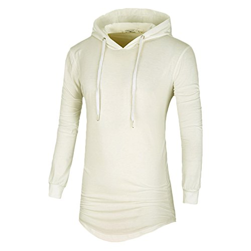 Annystore Men's Plain Long Sleeve Drawstring Cotton Zipper Long Pullover Hoodie Sweatshirt