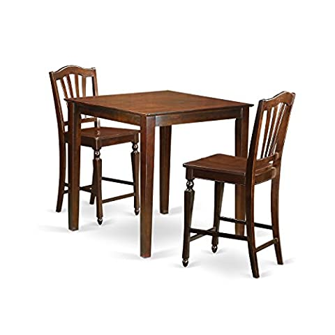 East West Furniture VNCH3-MAH-W 3 Piece Counter Height Pub Table and 2 Dinette Chairs Set - Pub Table Dinette