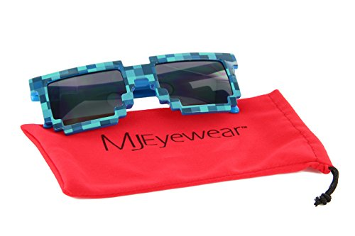 MJ Boutique's 8-Bit Pixel Retro Creeper Novelty Gamer Geek Sunglasses (BLUE, ()