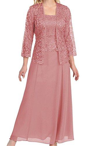 H.S.D Womens Lace Mother of the Bride Dress Formal Gowns with Jacket Dusty Rose (Best Mother Of The Bride Gowns)