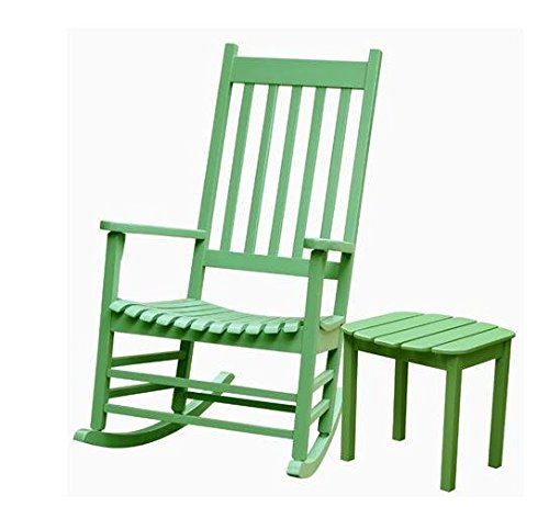 Set of 2 pcs - Porch rocker with side table Solid/Moss