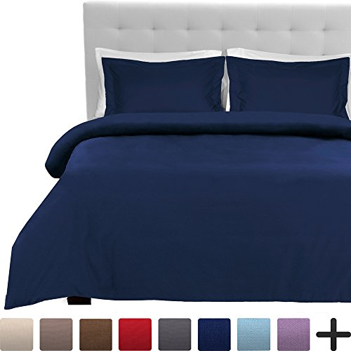 Luxury 2 Piece Duvet Cover and Sham Set – Premium 1800 Ultra-Soft Brushed Microfiber – Hypoallergenic, Easy Care, Wrinkle Resistant (Twin/Twin XL, Dark Blue)