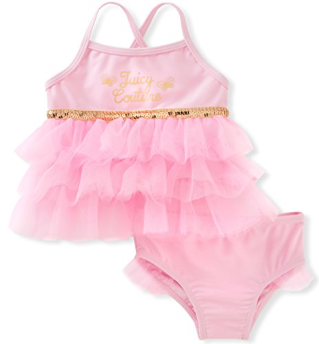 Juicy Couture Baby Girls 2 Pieces Swimsuit, Pink, 12M ()
