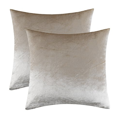 GIGIZAZA Ivory Rice Velvet Decorative Throw Pillow Covers for Sofa Bed 2 Pack Soft Cushion Cover Beige (Ivory, 20 x 20- Set of 2)