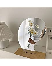 Acrylic Makeup Mirror for Desk with Stand-Aesthetic Desk Decor Vanity Mirror-Frameless Table top for Bedroom,Living Room and Minimal Spaces Room Decor