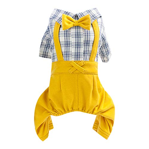 Puppy Gentleman bib Plaid Shirt Sweater Overalls Pants Small Dogs and Cats pet Clothes Yellow